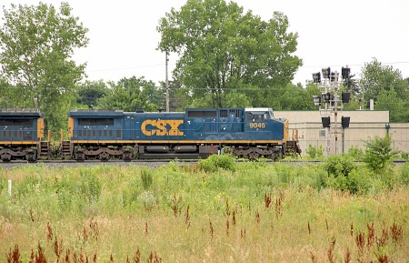 Thjis weed-infested field will be transformed this year into a railfan park. The lead unit of a westbound CSX train has just crossed the diamonds at F Tower during the Akron Railroad's Club's June 24, 2012, longest day outing.