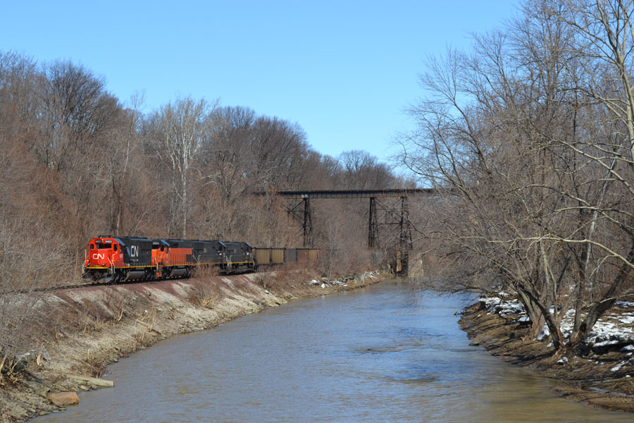 Cruisin' along Conneaut Creek as trains always have. That will not change even if the locomotives colors do.