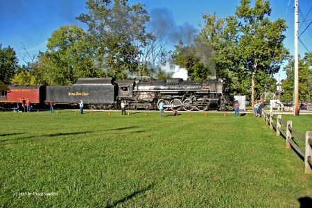 I've seen the 765 put out more smoke and steam while just running between locations. Shown is the second runby at Boston Mill, which was not overly impressive.