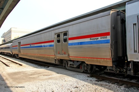 The exterior of the Viewliner sleeper on display in Toledo at National Train Day.