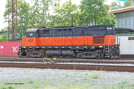 WNY&P No. 427, an Alco C425, was sitting idle at the east end of the former Erie yard in Meadville.
