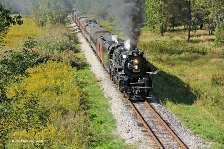 Nickel Plate Road No. 765, operating as No. 767, approaches Pleasant Valley Road on Saturday, Sept. 24.